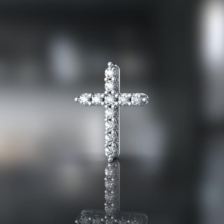 3д моделирование крестика с камнями